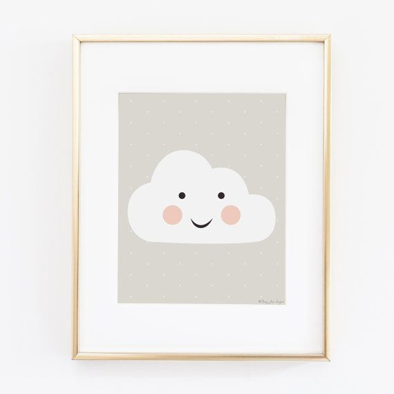 Happy Cloud Art Print Digital Art Printabel Art by PennyJaneDesign