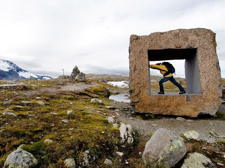 Mefjellet, Norway: In Norway, 18 scenic drives have been designated National Tourist Routes. This one, called Sognefjellet, runs for 67 miles between Lom and Gaupne—and features a square stone sculpture at Mefjellet that's a popular photo op spot. The area has a view of the the Fanaråken glacier and its surrounding peaks. Photograph by Christophe Migeon, Invision/Redux. September 15, 2013