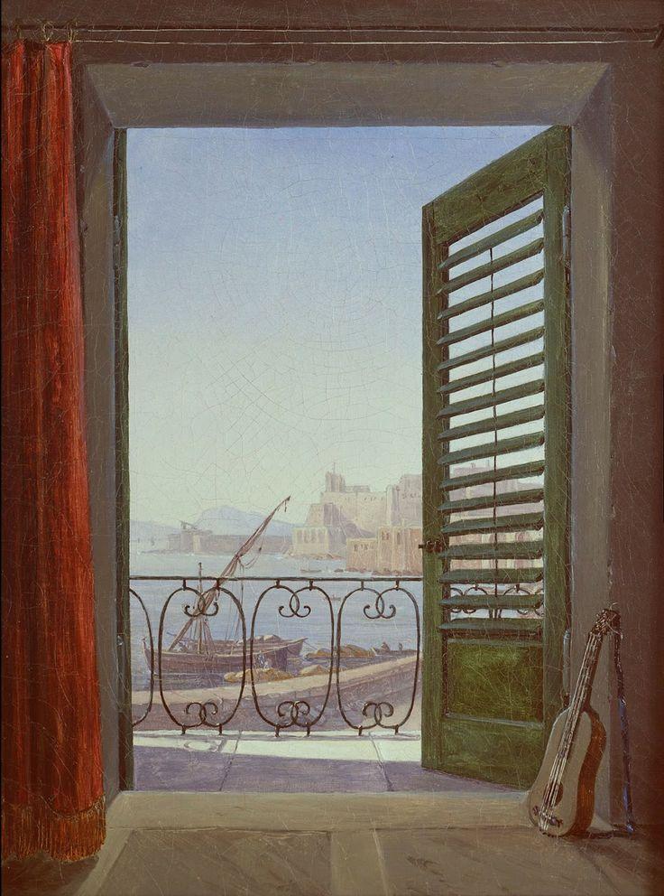 Carl Gustav Carus : Chambre avec balcon avec vue sur la baie de Naples, 1829-1830