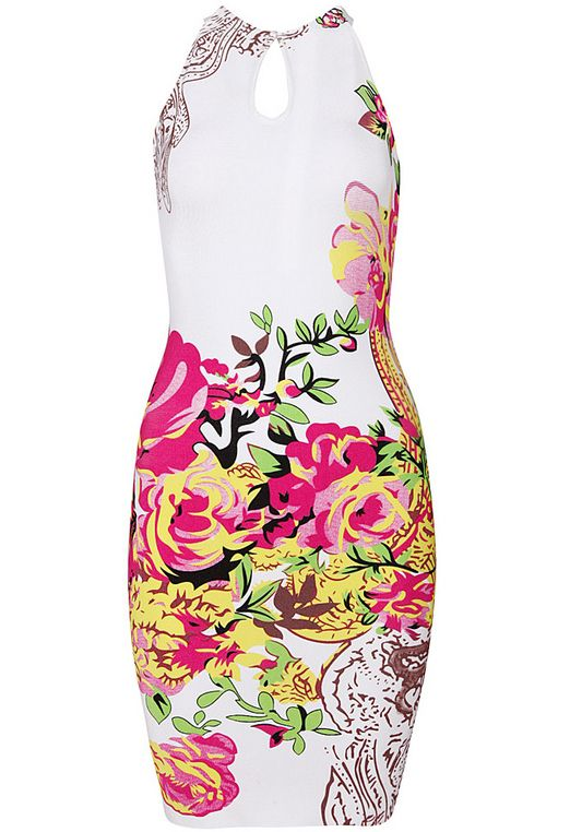 White Sleeveless Backless Floral Body Conscious Dress