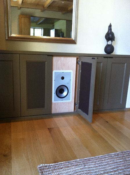 High Performance Speaker Hidden Behind Cabinet Door Diy Projects Pinterest Speakers Doors