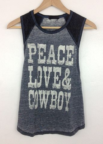 paz, amor & tanque de beisebol gráfico cowboy