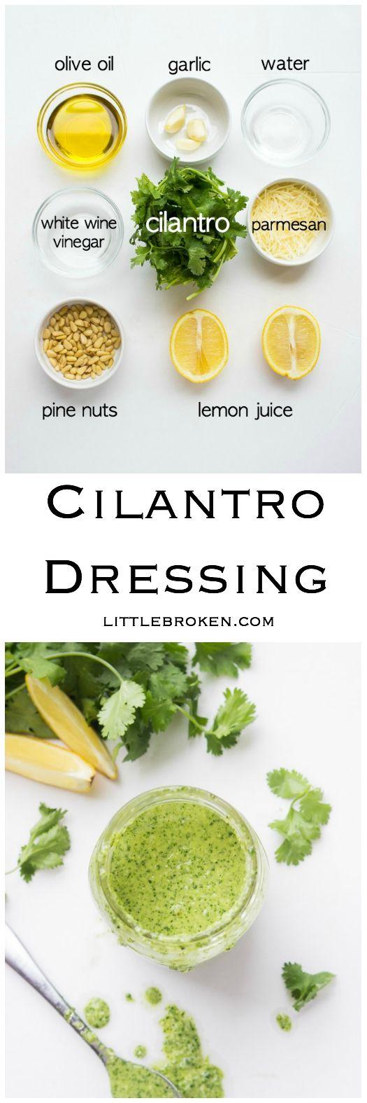 Fresh cilantro salad dressing made in about 5 minutes. Toss it with salad, pasta, quinoa. Pour it over shrimp, chicken or steak. | littlebroken.com @littlebroken