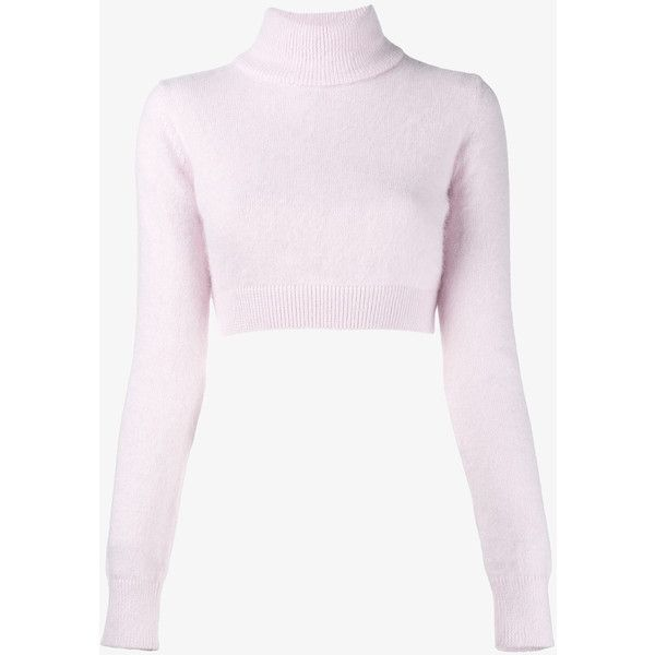 Balmain Cropped Angora And Wool Jumper ($600) ❤ liked on Polyvore featuring tops, sweaters, shirts, angora sweater, pink crop top, crop top, cropped sweater and pink top