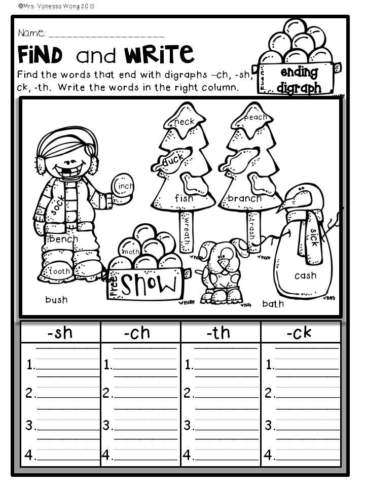 Download free printables at preview. Ending digraph. Winter Math and Literacy No Prep Printables - First grade. An excellent pack with a lot of sight word, vowels, blends, digraphs, vocabulary, word work, grammar, reading & comprehesnion, writing, fluency and other literacy activities and practice