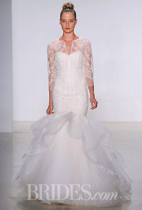 French lace fit to flare wedding dress with tulle skirt and french lace long sleeve bolero. Amsale Fall 2014.