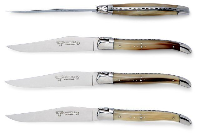 S/4 Steak Knives, Solid Horn