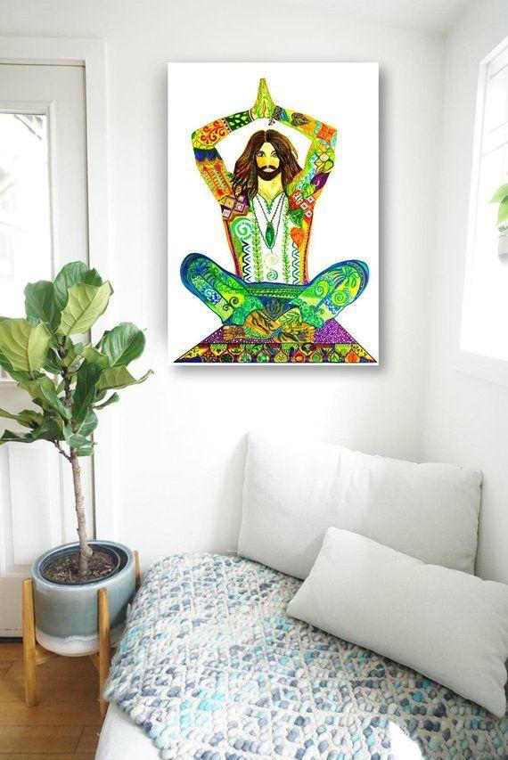 Yoga Guru Abstract Art Painting Stretched Canvas Print Etsy Zen Art Room Artwork Canvas Prints