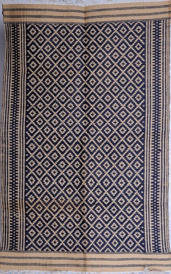 Navy-Blue Kalamkari Durri with All-Over Thread Weave