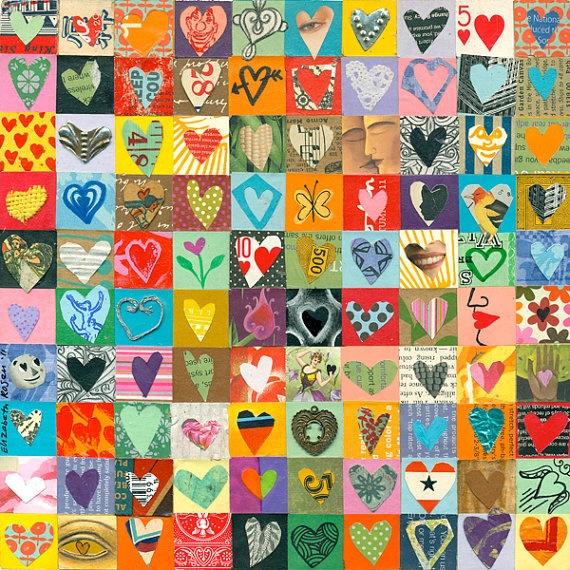 Heart collage art auction idea