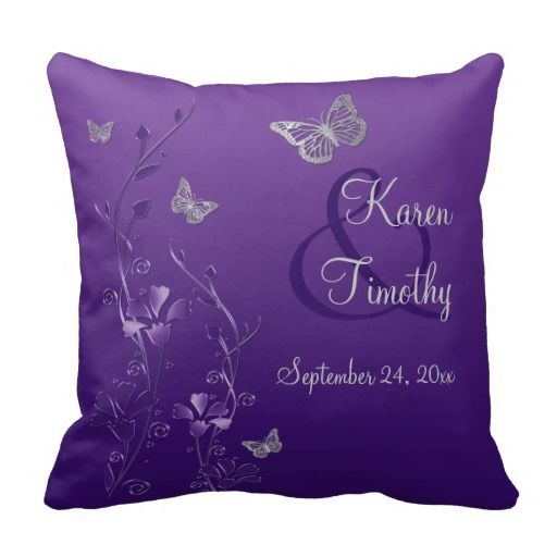 Jumbo Purple Gray Butterfly Floral Keepsake Pillow