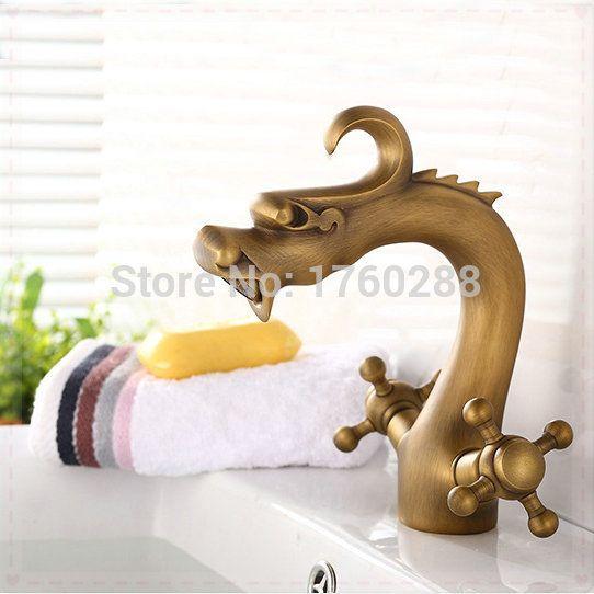 Купить товарБесплатная доставка дракон стиль античная бронзовая латунь кран ванны бассейна смеситель ванная комната ванна нажмите туалет бассейна краны SE 8603 torne в категории Смесители для умывальникана AliExpress.            &