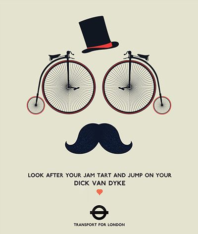 My favourite entry from the London Transport Museum's cycling illustration competition.  For those not familiar with Cockney rhyming slang 'jam tart' = 'heart' and 'dick van dyke' = 'bike'