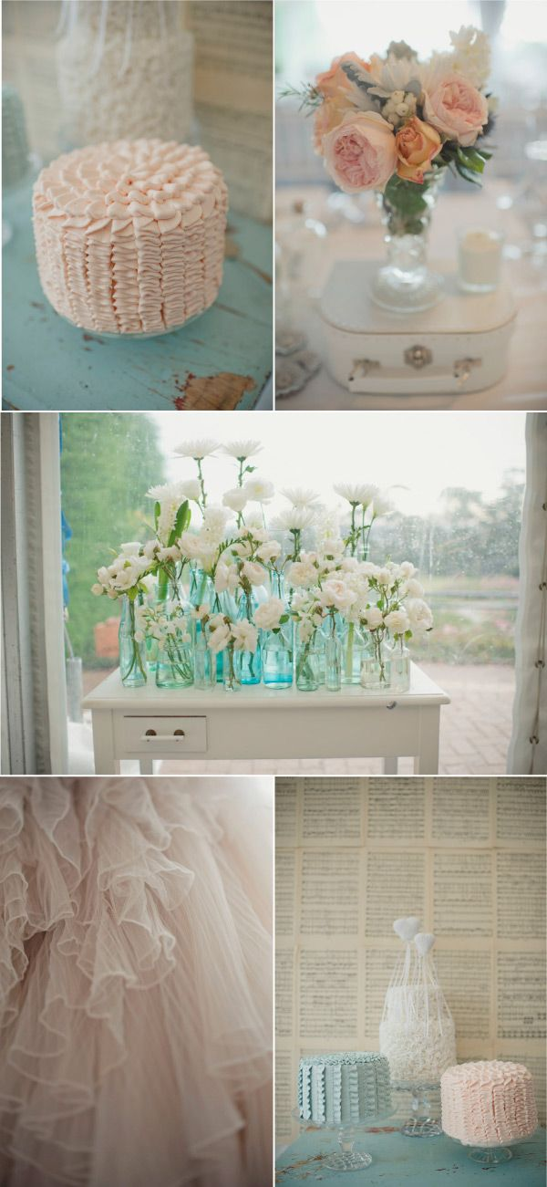 wedding decor.: Pastel, White Flowers, Idea, Color, Wedding, Blue Vase, White Rooms, Ruffles Cakes, Style Me Pretty