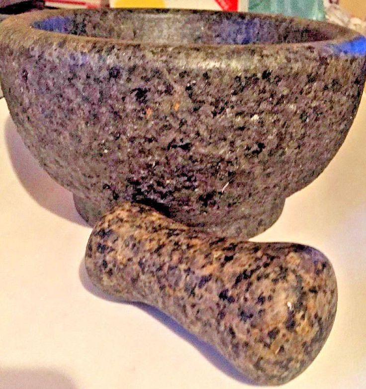 Vtg Huge Granite Stone Mortar & Pestle Spice Grinder Herb Pharmacy Pill Crusher