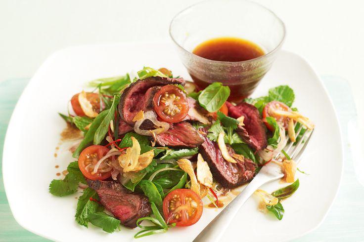 Thai kangaroo salad with crisp-fried garlic http://www.taste.com.au/recipes/26425/thai+kangaroo+salad+with+crisp+fried+garlic