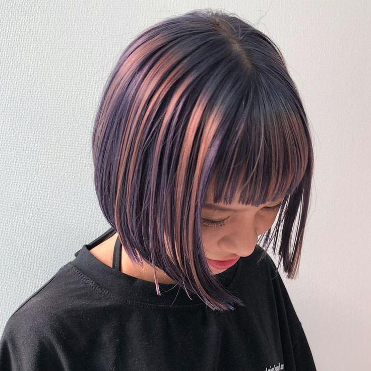 Miyoko Dab ショートヘア ウルフヘア ケアブリーチさんはinstagramを利用しています デザインセミナー 先日のセミナーにて ミニボブ アンブレラカラー はじめましての彼女に似合うラインで 今回のアンブレラカラーは 青紫とライラッ