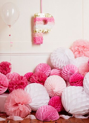 #confettimagspring. A sparkling spring soirée, combining mint and rose tones with shimmering gold accents. This letter could be personalised to the guest of honour's initial and be used as decor or as a piñata.     (Papermash)