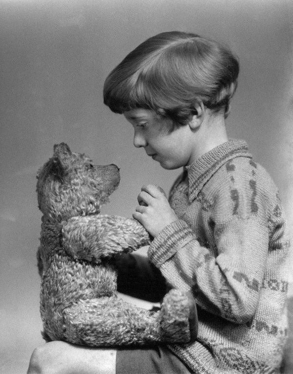 the real christopher robin (son of aa milne) and pooh bear, 1920s