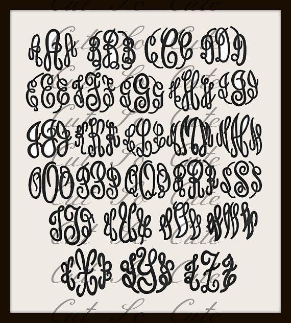 fancy script circle monogram svg dxf png alphabet cut format