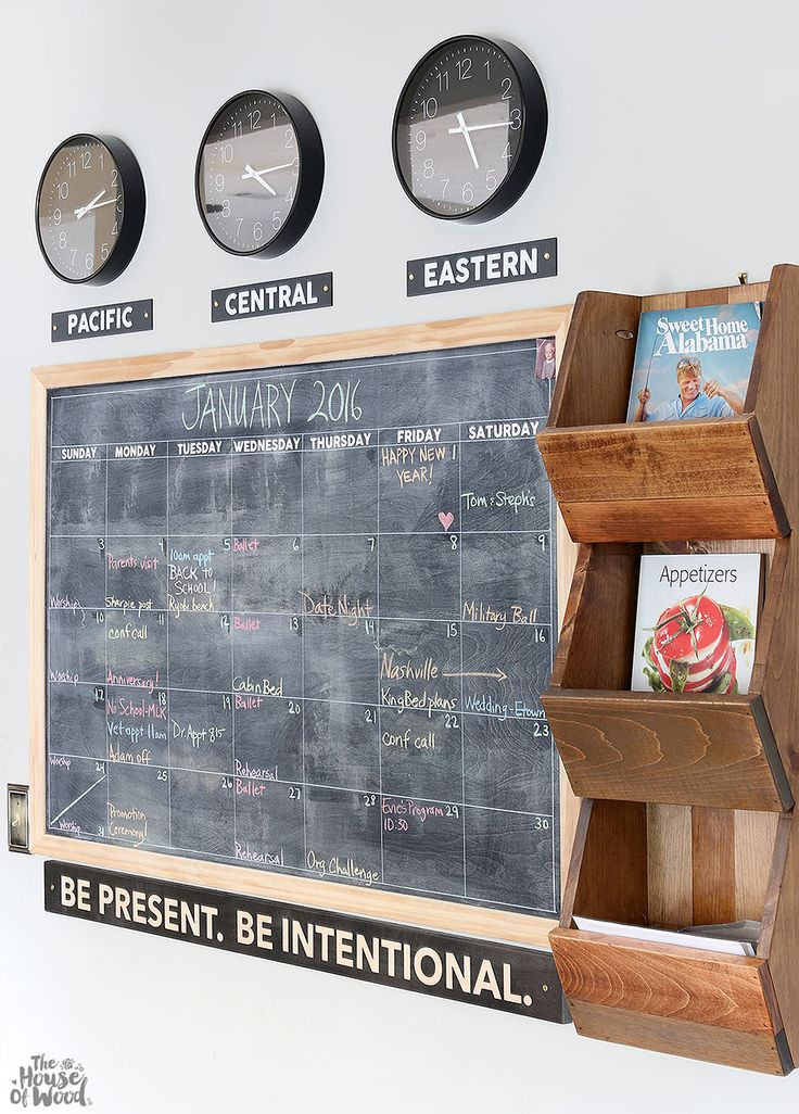 LOVE this family command center. DIY chalkboard calendar, time zone clocks, West Elm knockoff cubby shelf, and Be Present Be Intentional Sign. Via Jen Woodhouse