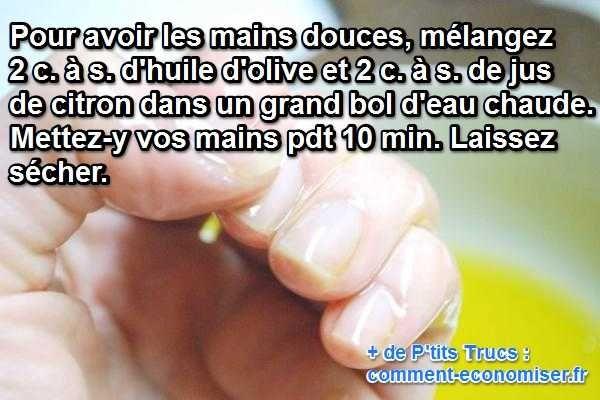 C'est parfois avec les ingrédients de la vie de tous les jours que l'on fait les meilleures recettes beauté. La preuve : ici vous n'aurez certainement rien à acheter en plus pour prendre soin de vos mains.  Découvrez l'astuce ici : http://www.comment-economiser.fr/soin-des-mains-fait-maison.html?utm_content=buffer66a99&utm_medium=social&utm_source=pinterest.com&utm_campaign=buffer