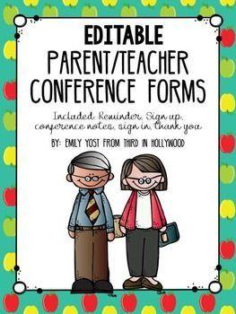 FREEBIE Editable Parent Teacher Conference Pack