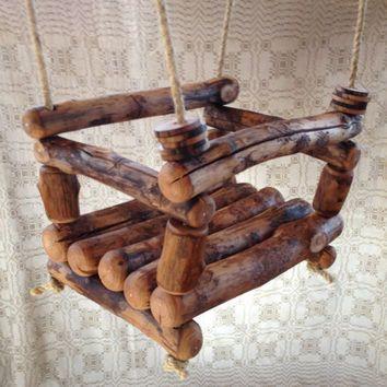 Rustikale Log die Schaukel rustikale Log Kleinkind von mumamima