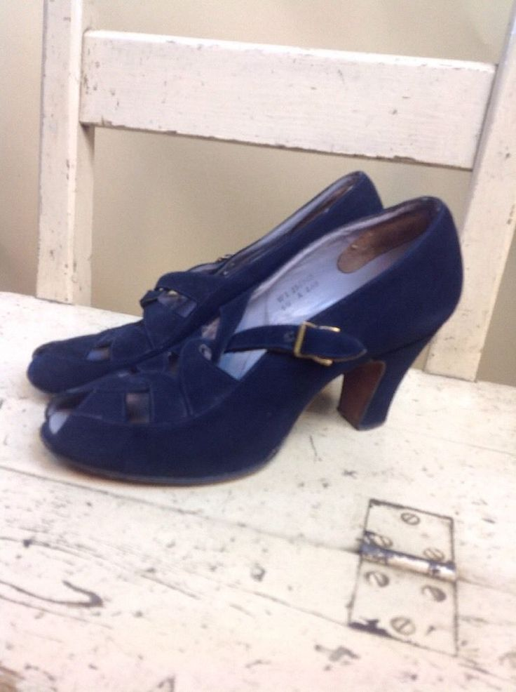 A Pair Of Ladies Vintage High Heel Clarks Shoes 1940s - 1950s VGC Blue Suede   | eBay