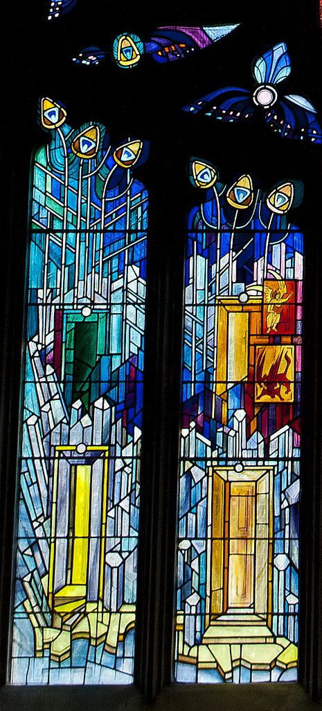 This stained glass window is in St. Katherine's Aisle of St. Michael's Parish Church in Linlithgow.  It was installed in 1992 to mark the 750th anniversary of the consecration of St Michael's.  Scottish artist Crear McCartney designed and executed the window.