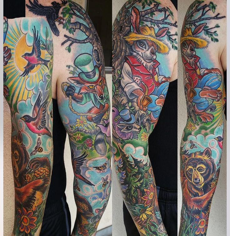 Brer Rabbit sleeve by Kim Saigh at Memoir Tattoo in Los Angeles, CA.