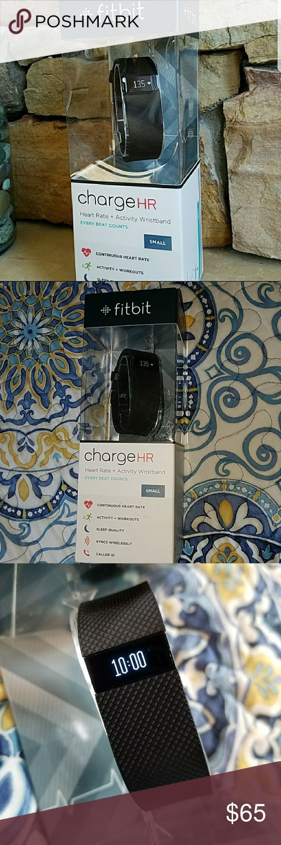 Fitbit Charge HR black small activity tracker Continuous heart rate detecting, step counter, activity and workout tracker. Keeps track of sleep quality and syncs wirelessly, also has caller ID that comes across screen. Used for 8 days, just didn't need all the extras. Works great, took picture with time on screen and one of it without to show small scratch on screen, does not affect it any way and barely noticeable unless looking up close or with flash! Fitbit Accessories