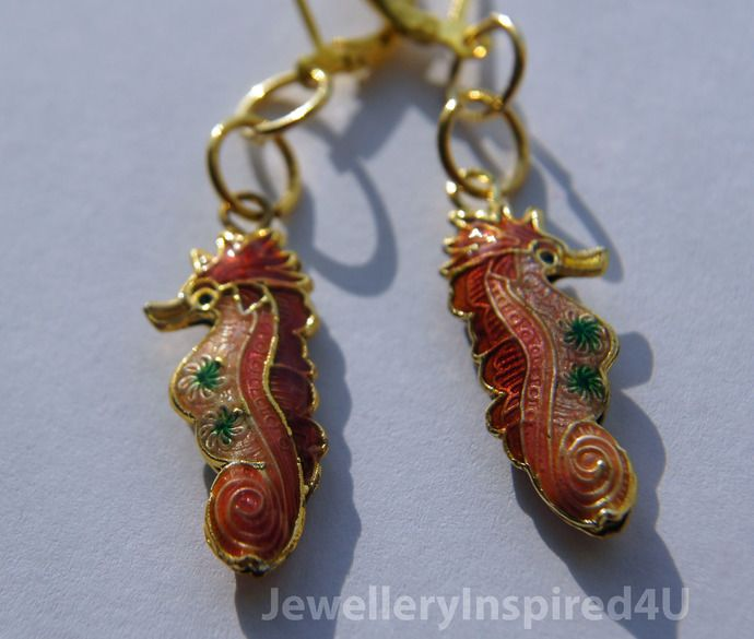 Cloisonne - Seahorse Coral Earrings with Gold Lever Backs. Enamel Earrings. Coral Earrings by JewelleryInspired4U, $17.00 USD