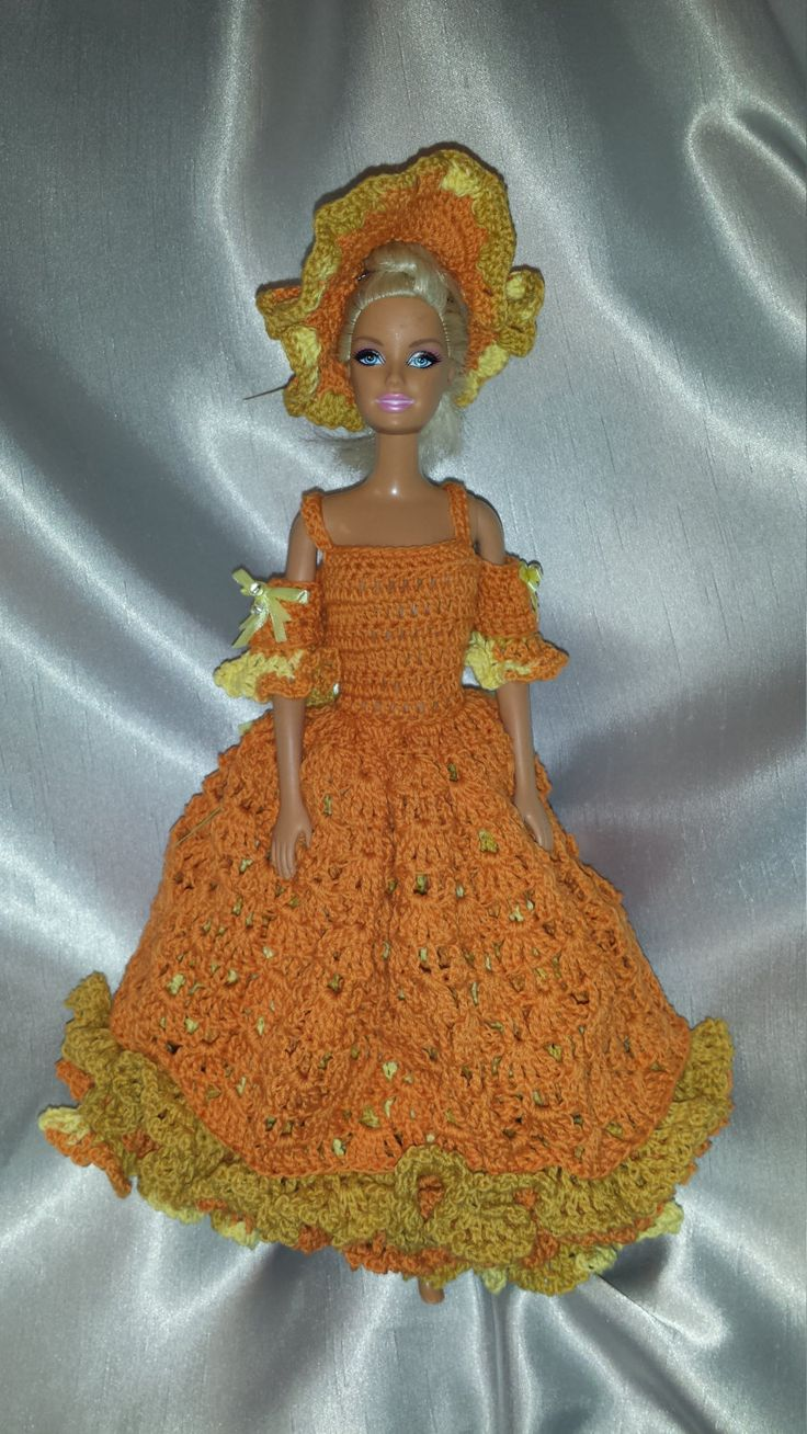 Crochet Barbie Dress, Fashion Doll Crocheted Bridesmaid Dress, Handmade Barbie Clothes, Fall Colored  Gown For Barbie by GrandmasGalleria on Etsy