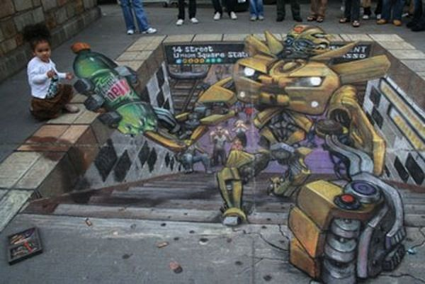"""Another amazing Julian Beever, aka """"The Chalk Guy"""" design."""