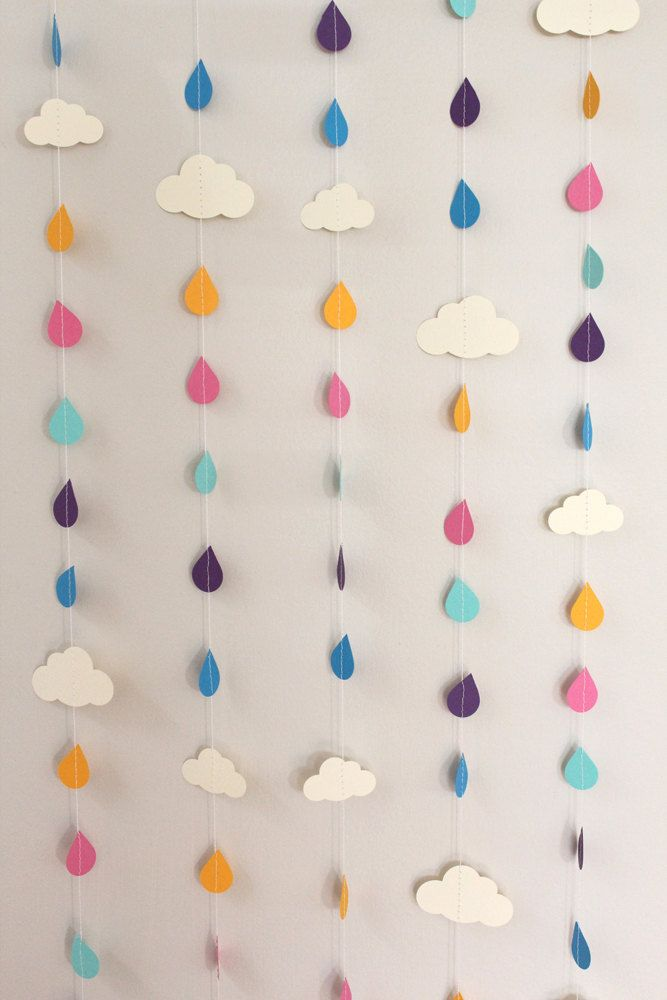 Rainbow Raindrops and Clouds Paper Garland - April Showers, Baby Showers, party decorations. $30,00, via Etsy.