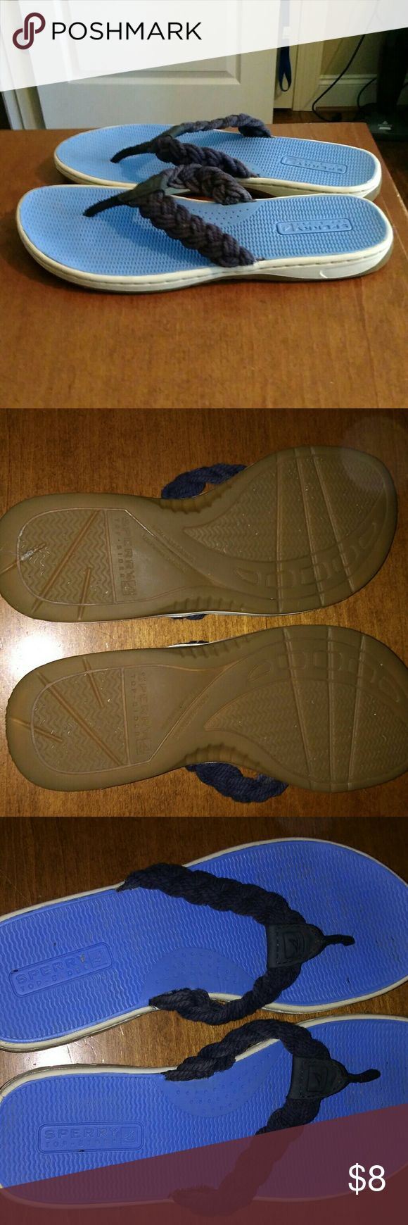 Sperry Sandals great for beach or pool.  braided navy thongs on top and hard rubber uppers and soles. Sperry Top Siders Shoes Sandals