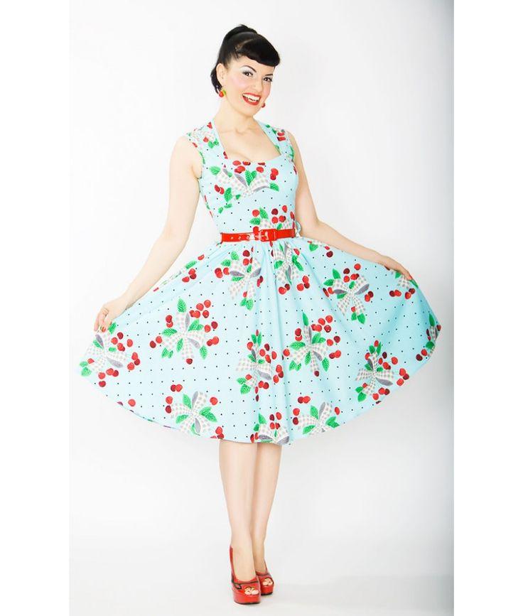 Bernie Dexter Sugar Doll Dress Aqua Cherries