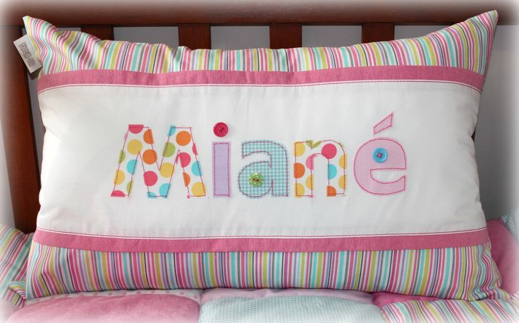 """Miané"" name scatter cushion Designed by Tula-tu Baby Linen"
