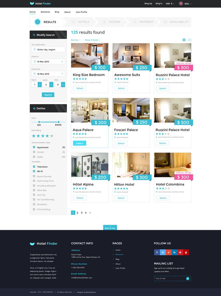 #1 Hotel Booking Template  Hotel Finder is a premium PSD template designed for commercial purposes. Create an amazing hotel booking website using the pre-build layout and elements. Customize the ex...