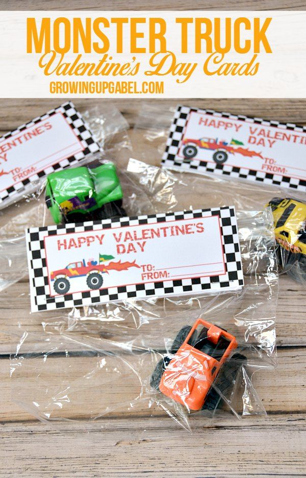 Monster Truck Valentines are perfect for your monster truck fanatic! Dollar store toys make the perfect non-candy Valentine's Day treat.
