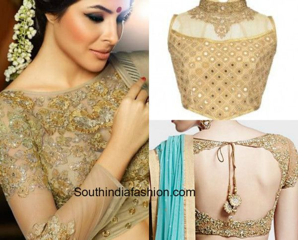 Gold blouses with sheer fabric