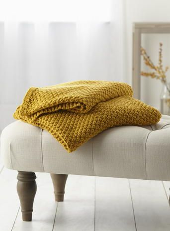 Mustard Waffle Knit Throw - bedspreads & throws - Home, Lighting & Furniture - BHS