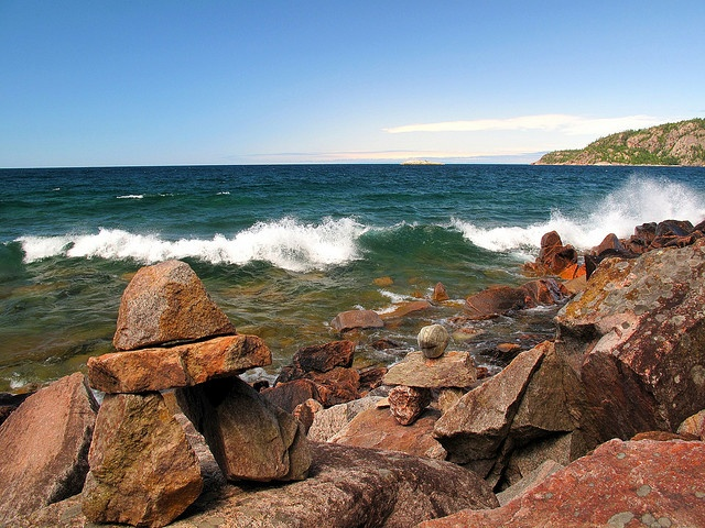 Inukshuks on Lake Superior's Shore north of Sault Ste. Marie, ON, Canada