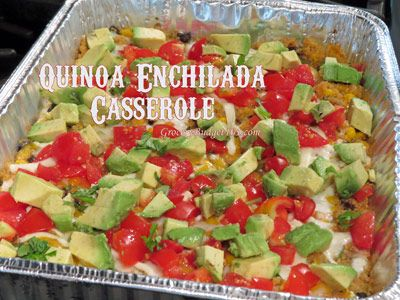 Quinoa Enchilada Casserole. Gluten-free and Vegan friendly depending on the type of cheese used.
