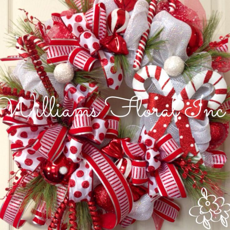 236 best christmas wreaths images on pinterest christmas swags christmas wreath candy cane whimsical red and white christmas mesh wreath by solutioingenieria Gallery
