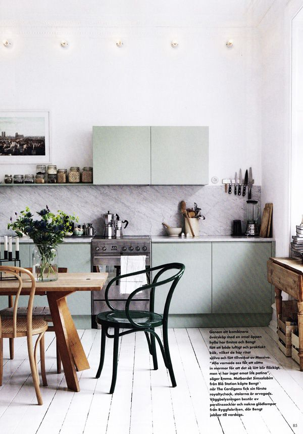 marble splash: Kitchens, Interior Design, Ideas, Inspiration, Color, Interiors, Green Kitchen, House, Space