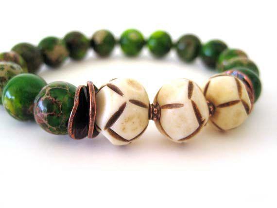 Imperial jasper beaded stretch bracelet handmade by Rock & Hardware Jewelry...fabulous!