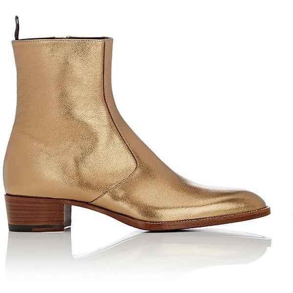 Saint Laurent Metallic Wyatt Boots (13.705 ARS) ❤ liked on Polyvore featuring men's fashion