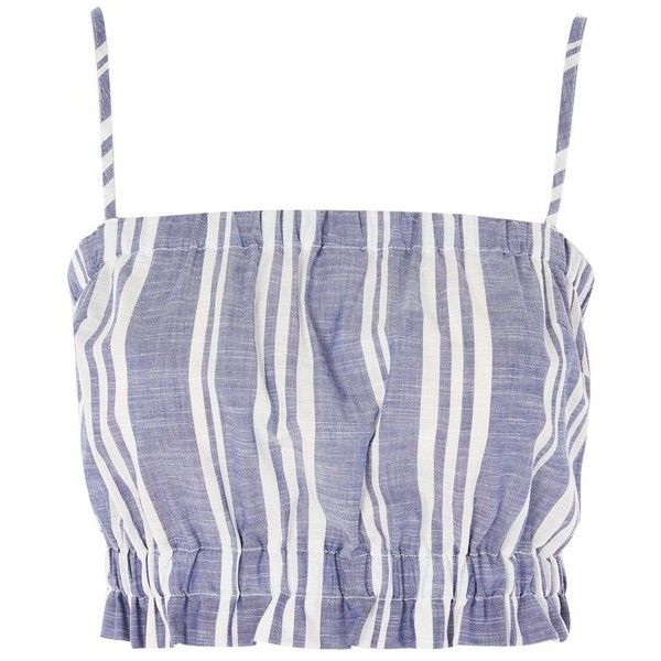 Stripe Frill Hem Bandeau Top by Nobody's Child ($21) ❤ liked on Polyvore featuring tops, blue, bandeau bikini tops, striped top, bandeau tops, blue top and ruffle hem top